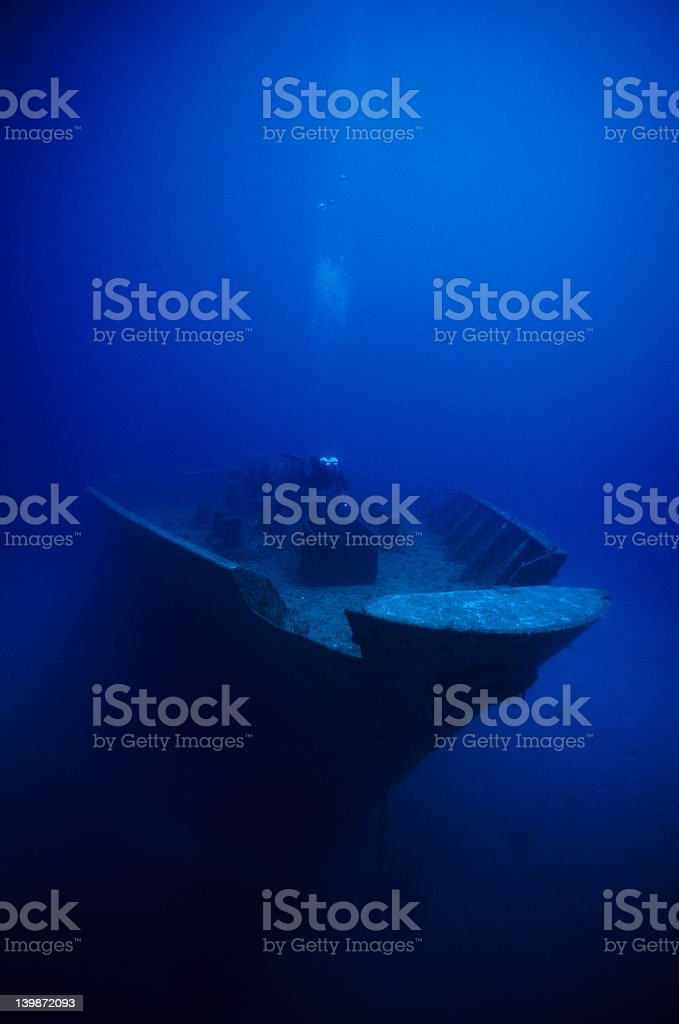 Wreck and diver royalty-free stock photo