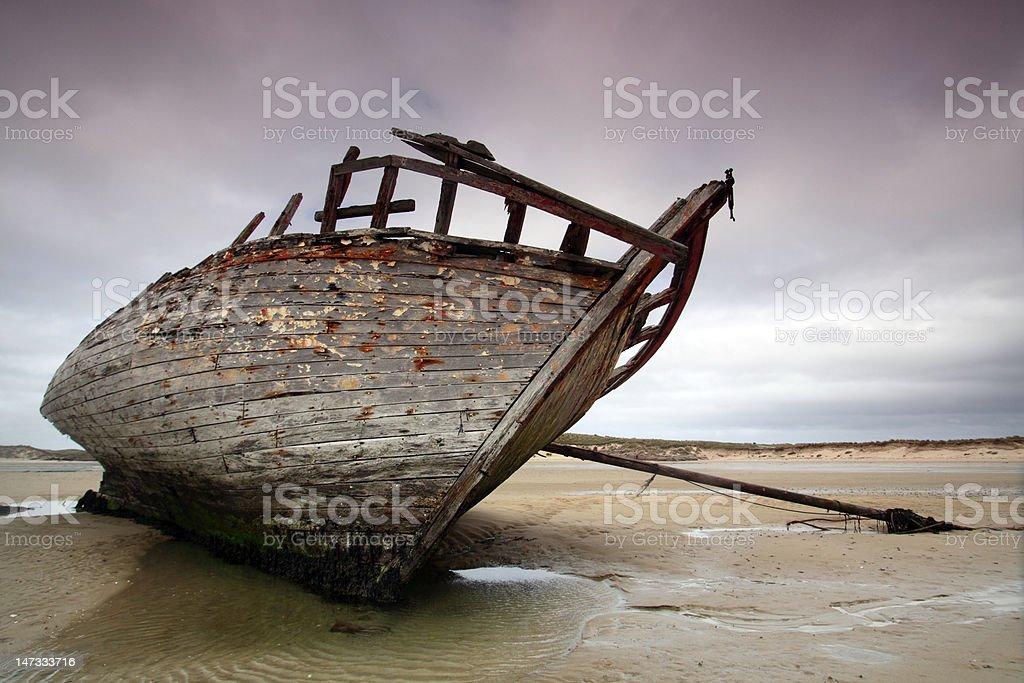 Wreck at Bunbeg Beach royalty-free stock photo