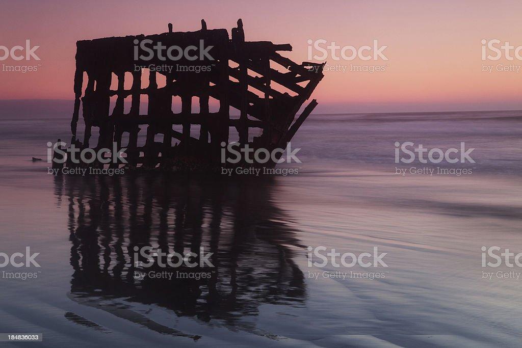 Wreck at dusk stock photo