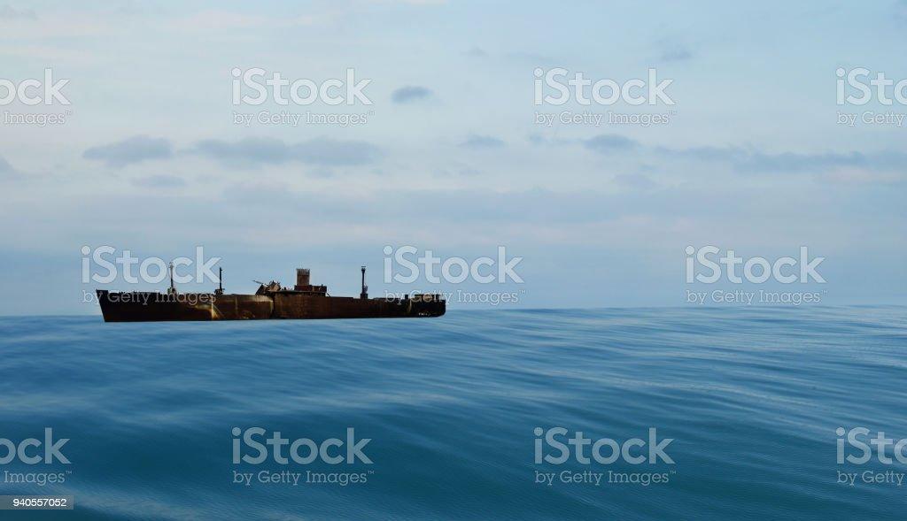 Wreck at sea in Romania stock photo