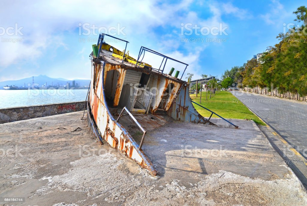wreck boat at Eleusis Greece royalty-free stock photo