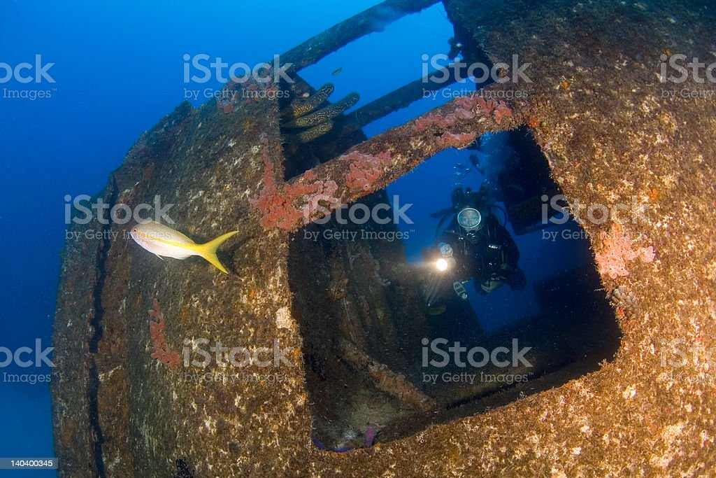 Wreck diver woman royalty-free stock photo