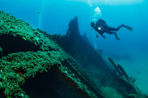 wreck diving over a shipwreck scuba diver point of view - shipwreck stock pictures, royalty-free photos & images