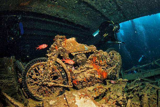 wreck diving - ss thistlegorm - wreck diving stock pictures, royalty-free photos & images