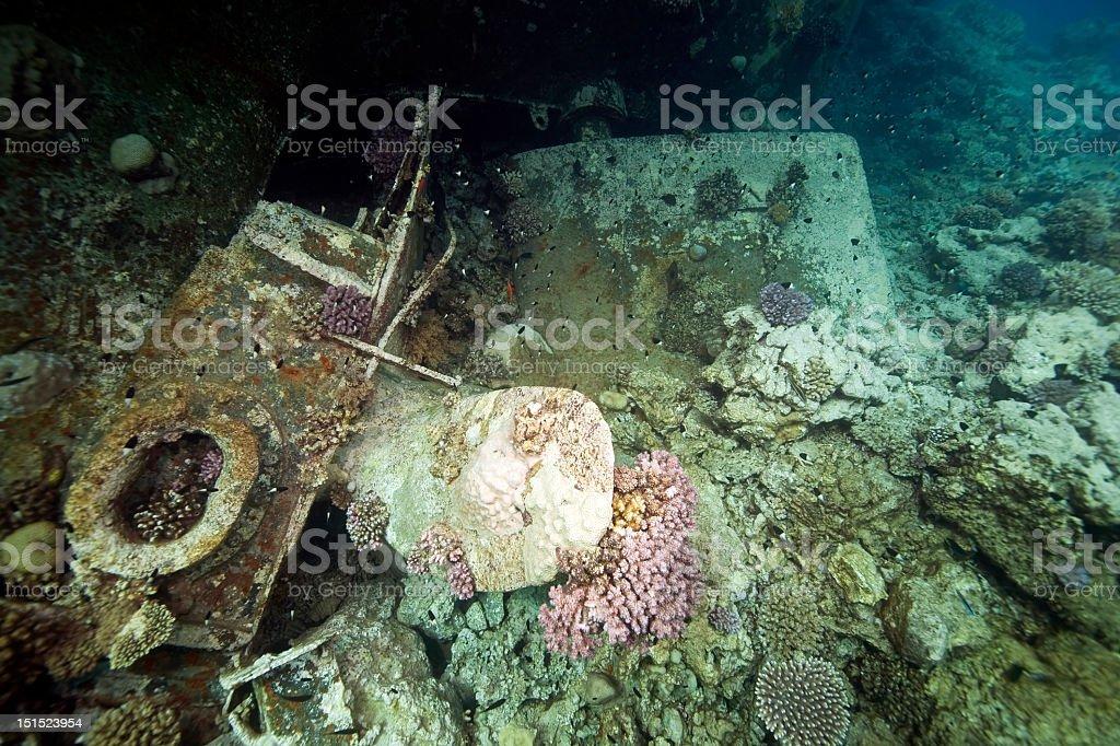 Wreck German freighter Kormoran - sank in 1984 Tiran royalty-free stock photo