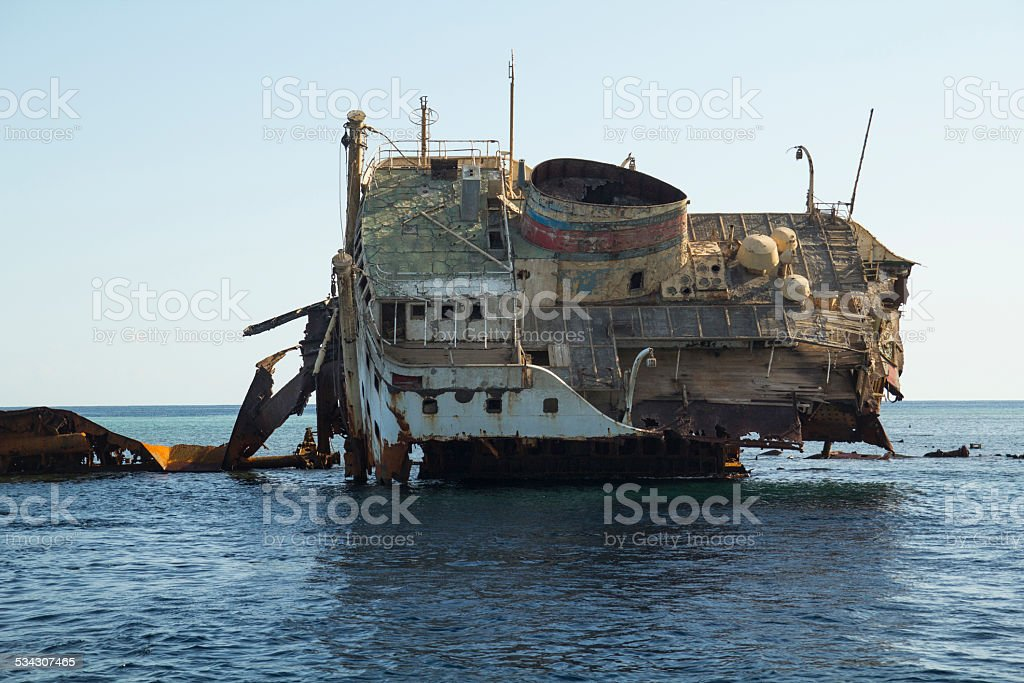 Wreck in the Red Sea stock photo