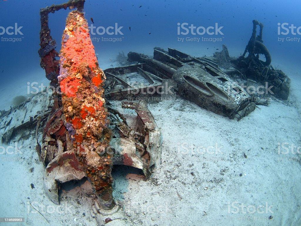 wreck of a Bristol Beaufighter plane stock photo