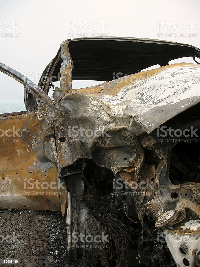 Wreck of a Burned out Car royalty free stockfoto