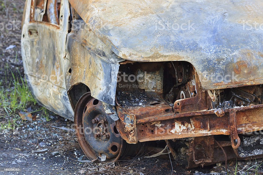 Wreck of a car, disposed in the nature royalty-free stock photo