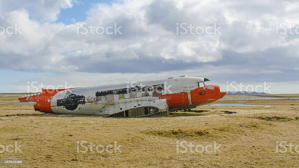 Wreck of a stranded airplane in Northeast Iceland stock photo