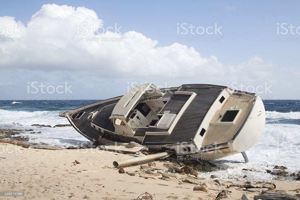 Wreck of a Yacht royalty-free stock photo