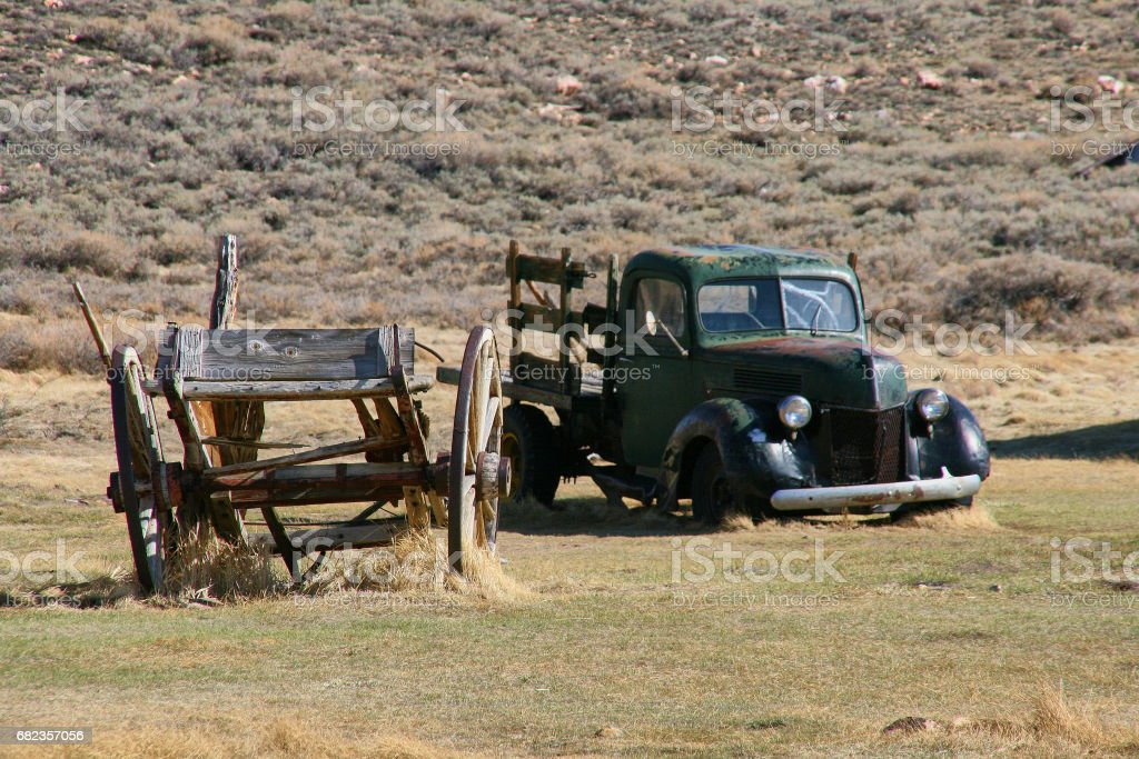 Wreck of cart and pick-up - ghost town of Bodie zbiór zdjęć royalty-free
