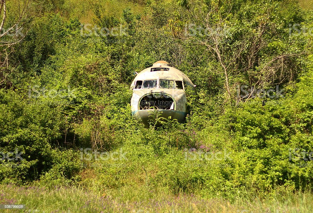 Wreck of the crashed plane. stock photo