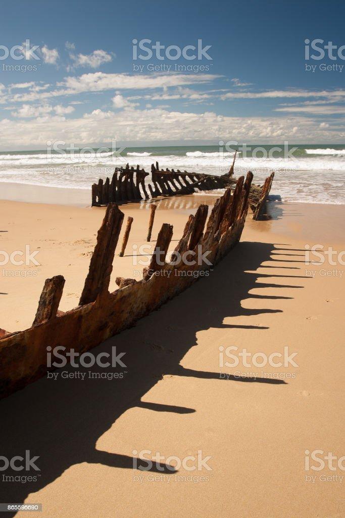 wreck of the SS Dicky, Caloundra stock photo
