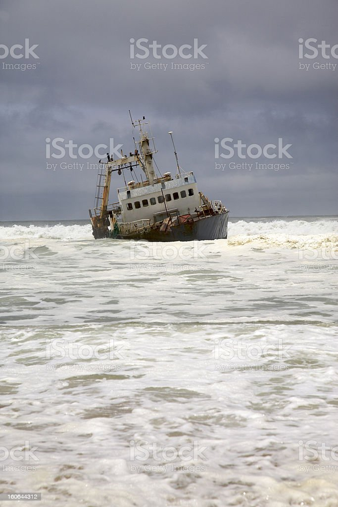 Wreck on the beach royalty-free stock photo