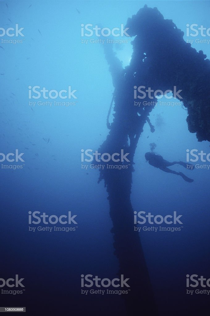 WWII Wreck prior to sinking after volcanic eruption in 1994 royalty-free stock photo