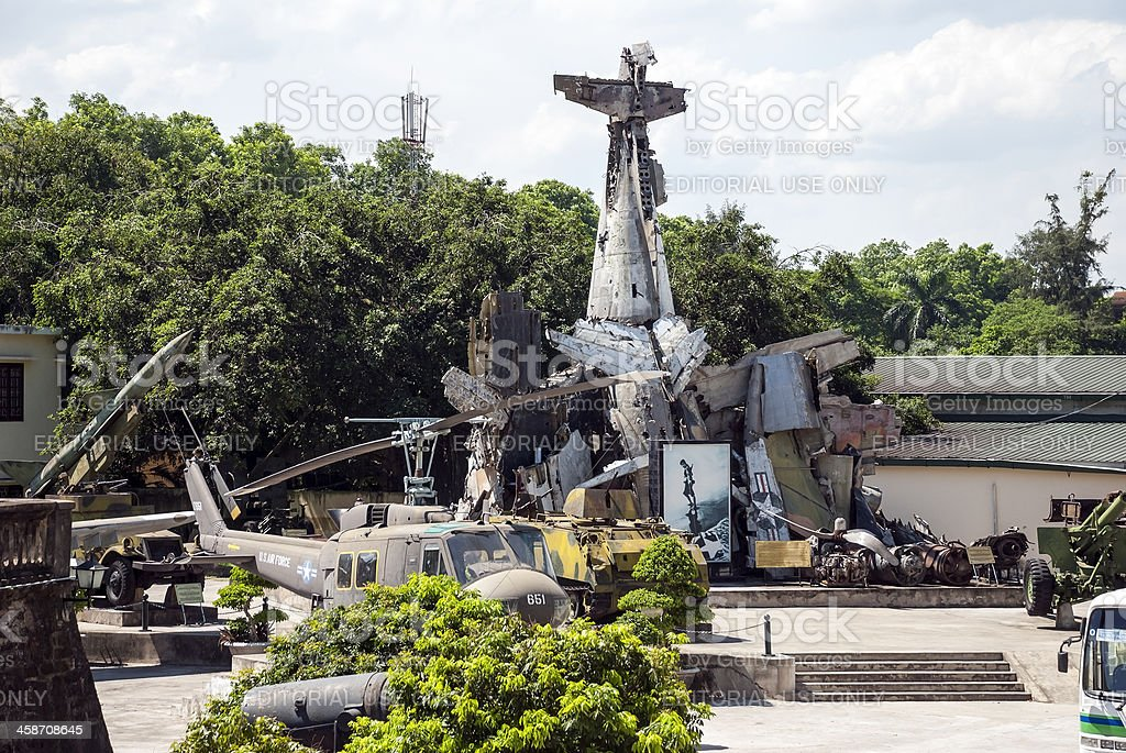 Vietnam war plane wreckage and memorabilia in Hanoi royalty-free stock photo