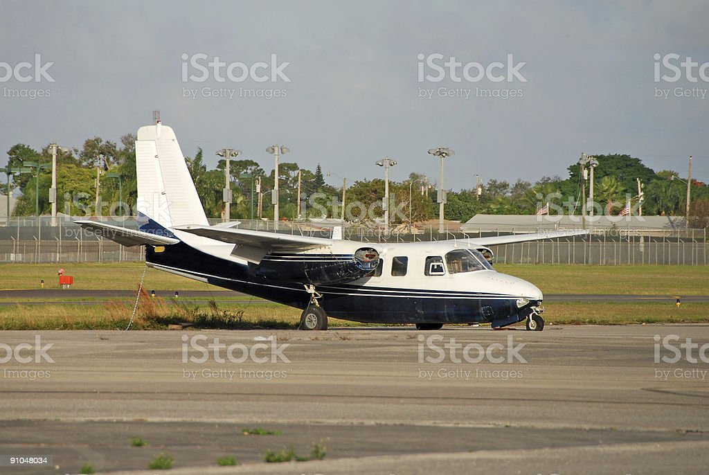 Wrecked aircraft on runway royalty-free stock photo