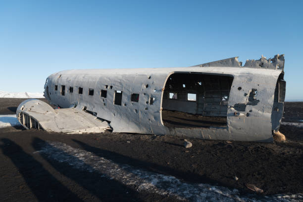 Wrecked airplane in Iceland Wrecked airplane in the south of Iceland sólheimasandur stock pictures, royalty-free photos & images