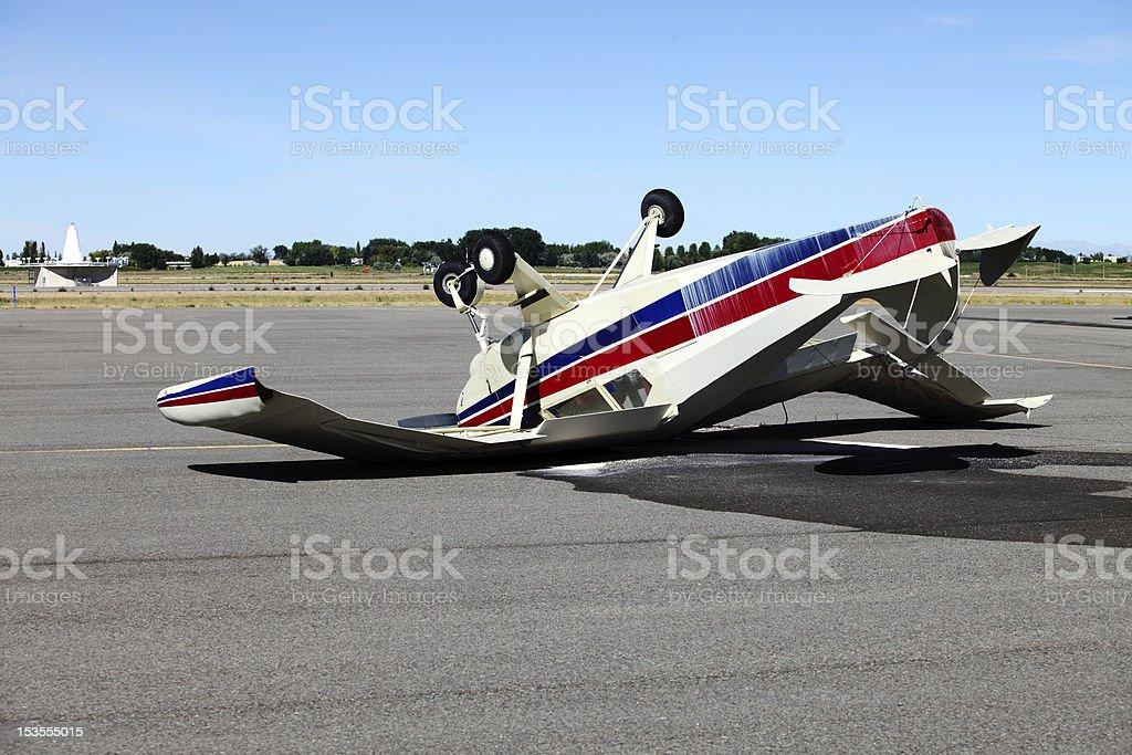 Wrecked airplane stock photo