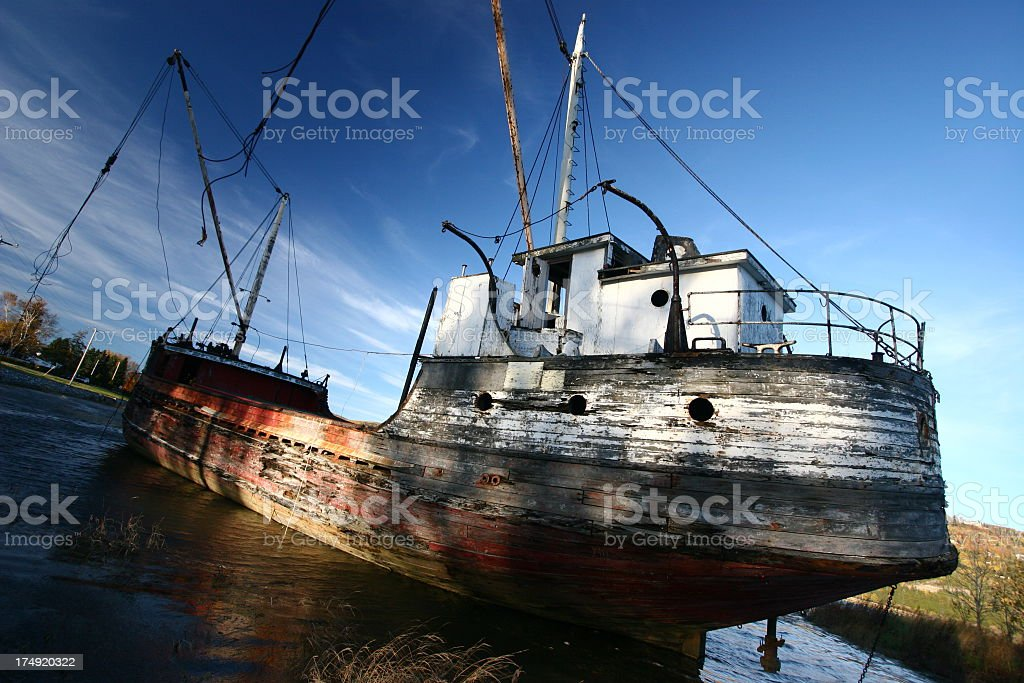 Wrecked Boat stock photo