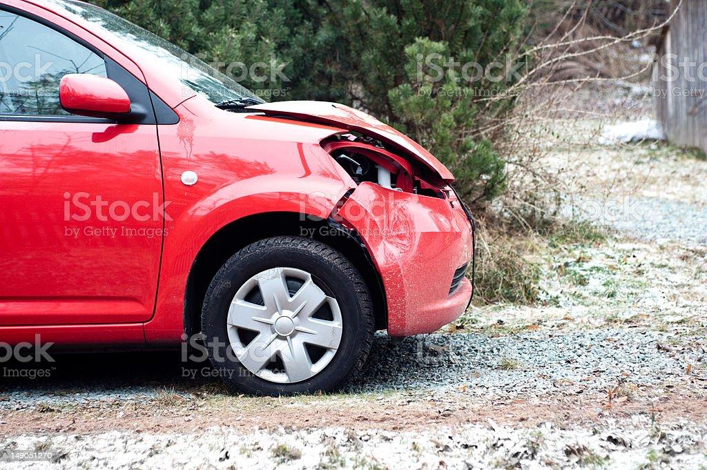 Wrecked car stock photo