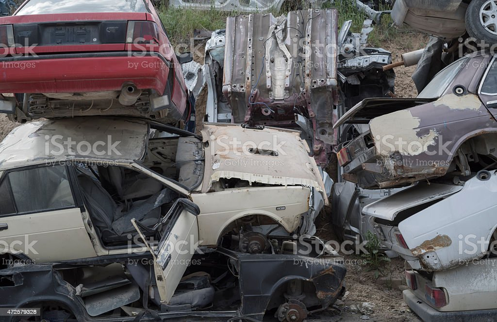 Wrecked Cars Stored at a Junkyard royalty-free stock photo