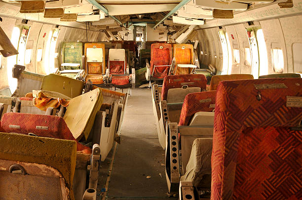 Wrecked Jetplane Interior stock photo