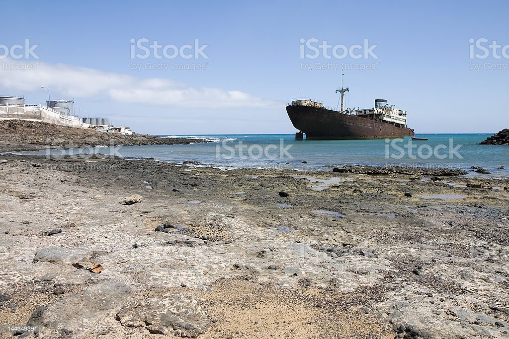 Wrecked ship in Lanzarote royalty-free stock photo