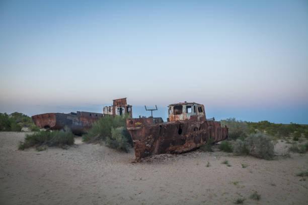 Wrecked ships in Moinaq, Uzbekistan stock photo