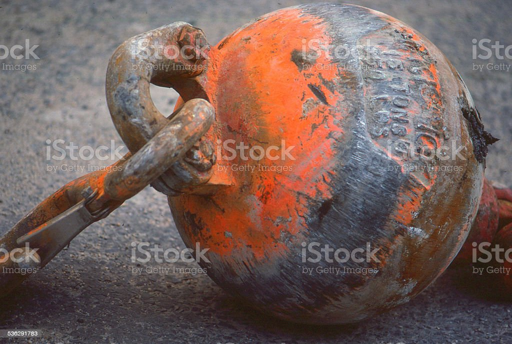Wrecking Ball on ground stock photo