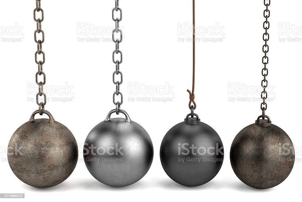 wrecking balls stock photo
