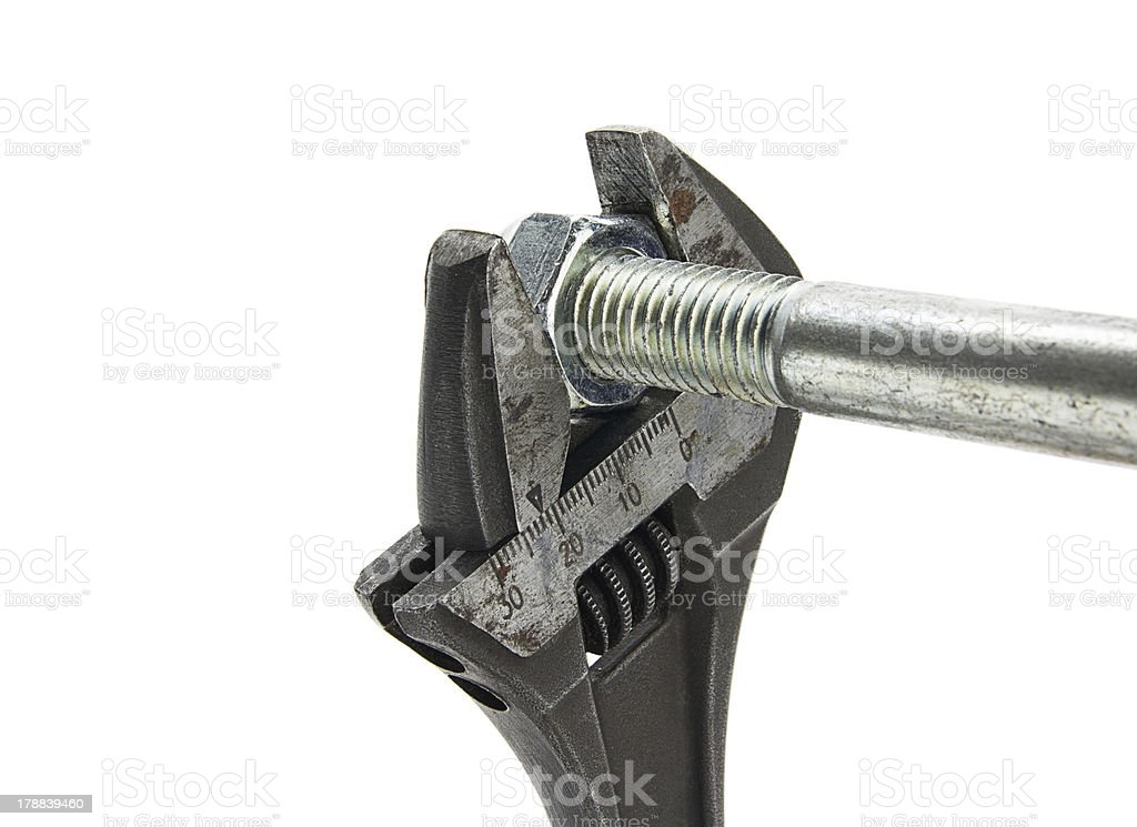 Wrench and a bolt royalty-free stock photo