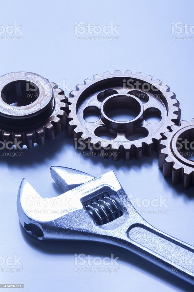 Wrench and gear royalty-free stock photo