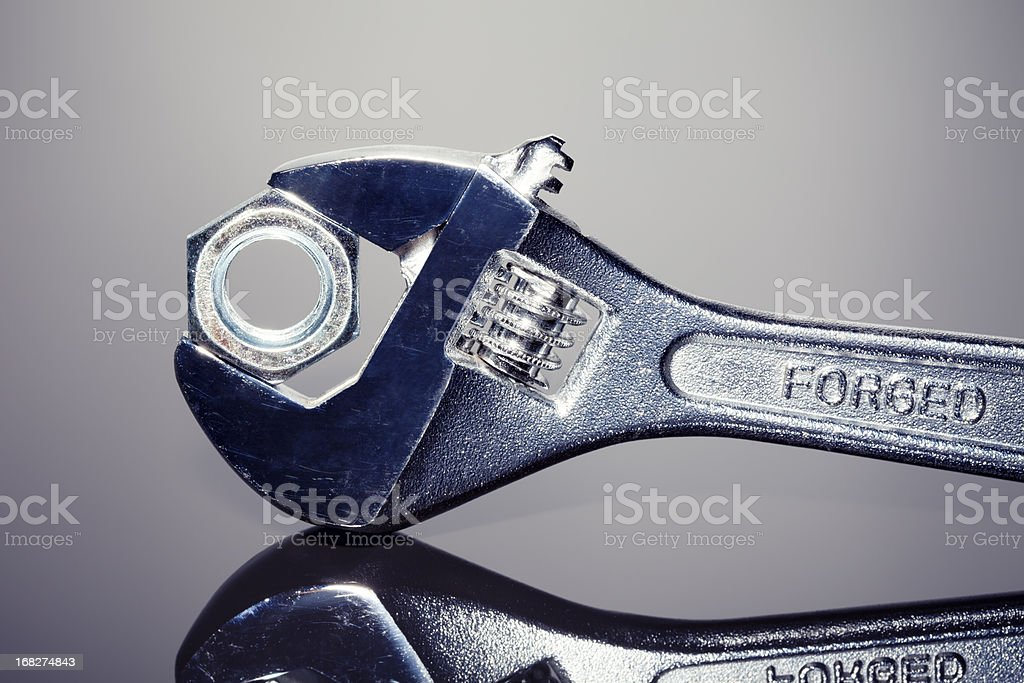 Wrench and nut royalty-free stock photo