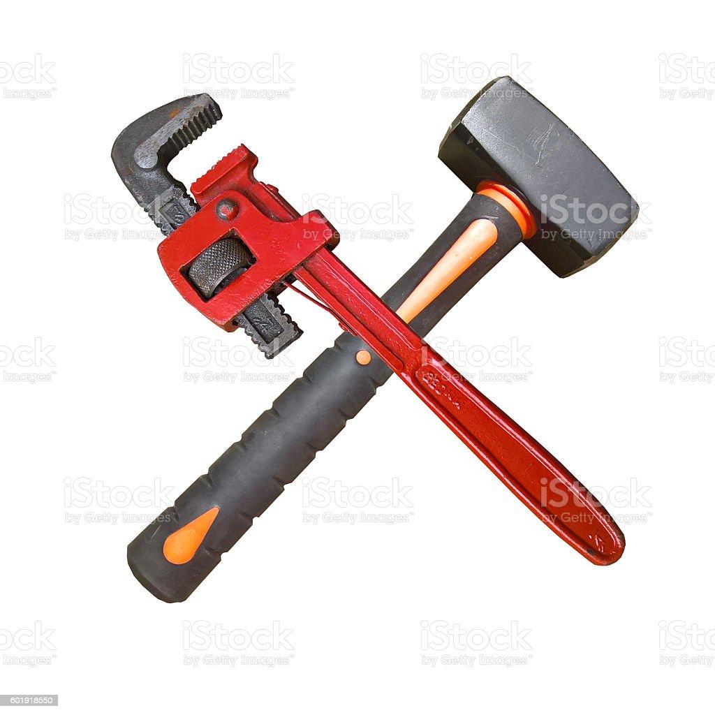 Wrench Hammer Cross stock photo