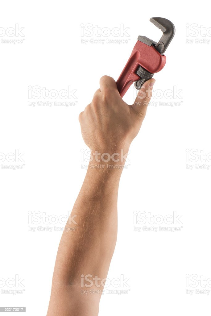 Wrench in hands( Clipping Path ) stock photo