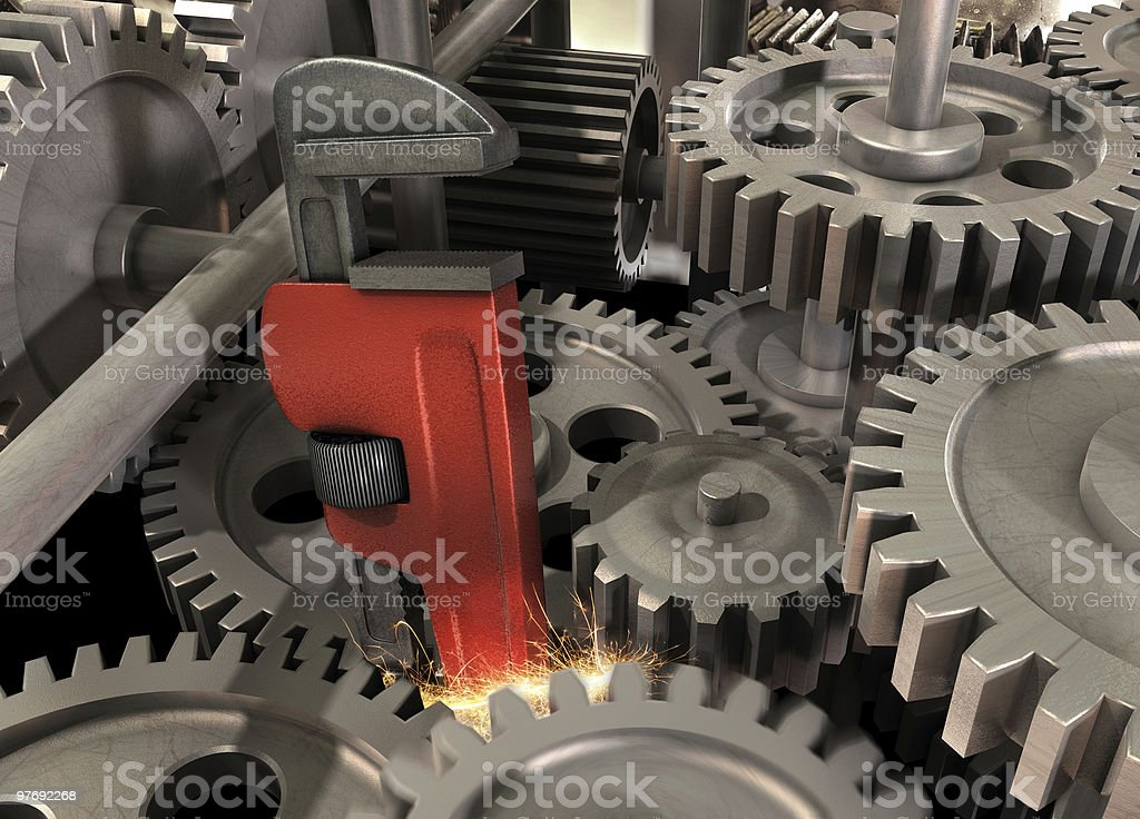 Wrench in the Machine stock photo