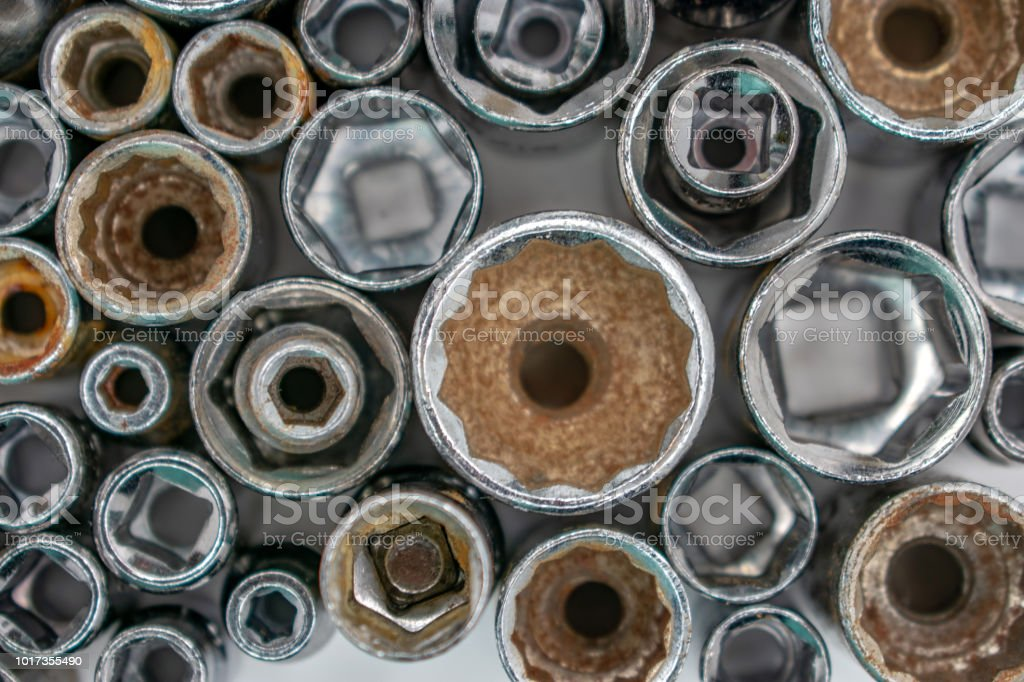 wrench sockets from above large in center stock photo