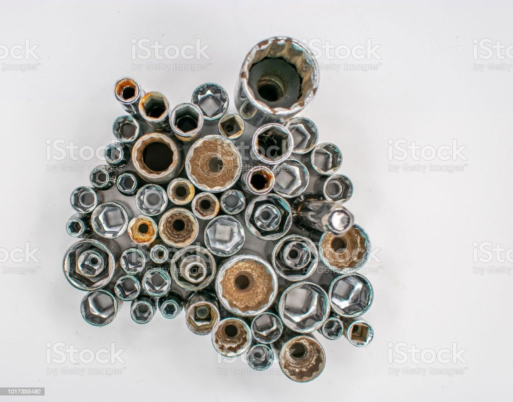 wrench sockets from above stock photo