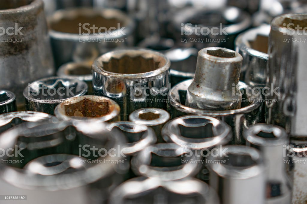 wrench sockets profile view stock photo