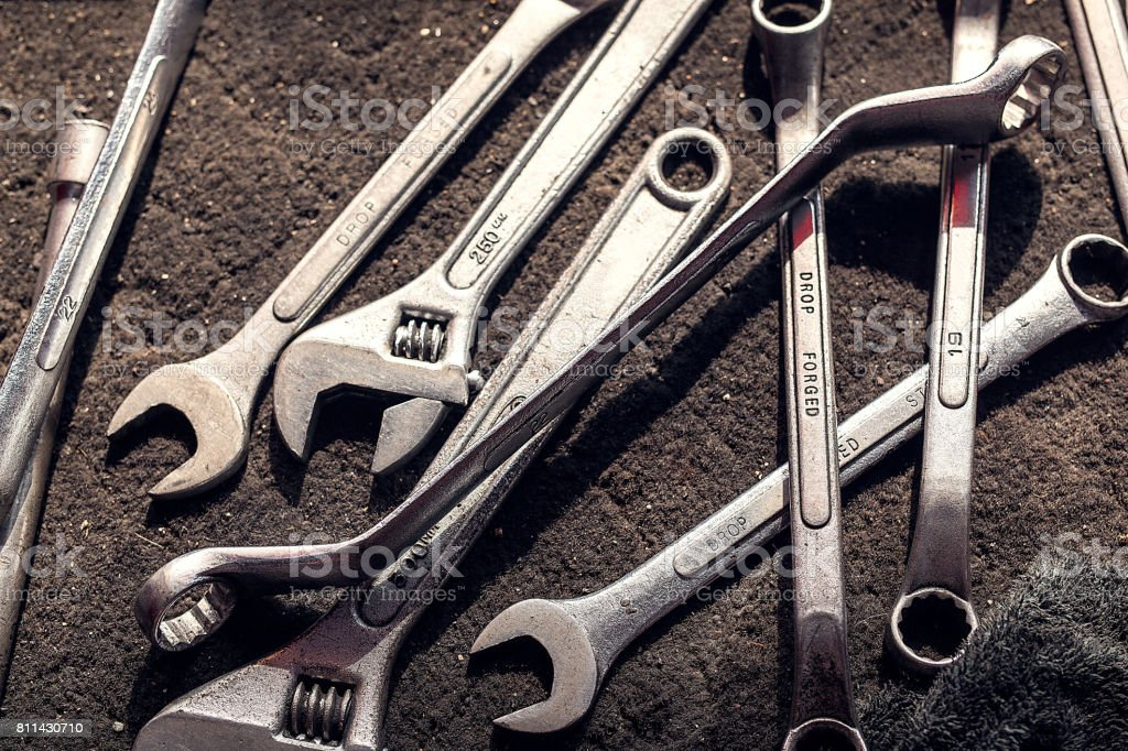 wrench, spanner, monkey wrench, screw wrench, diverse wrench tools on...