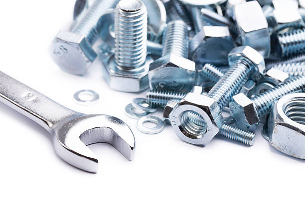 wrench with nuts and bolts stock photo