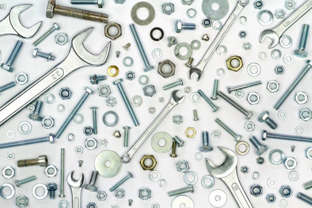 Wrenches, bolts, nuts, screws and washers Wrenches, bolts, nuts, screws and washers close up image washer fastener stock pictures, royalty-free photos & images