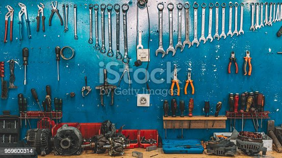 Wrenches set in the workshop