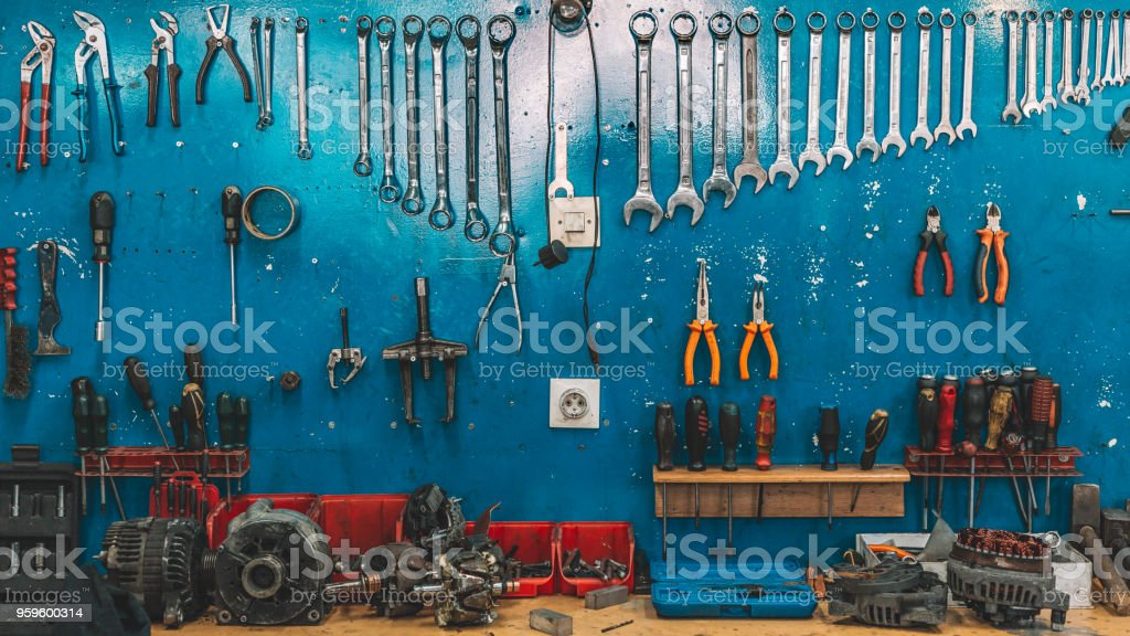 Wrenches set in the workshop stock photo