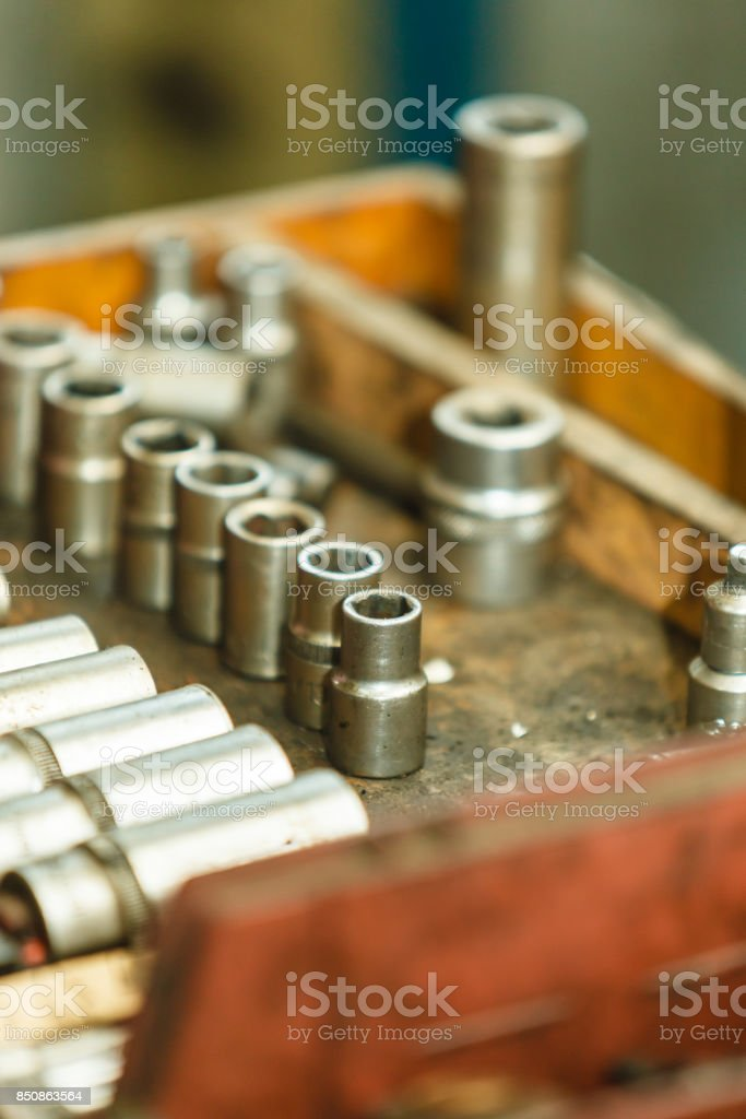 Wrenches sockets and screws. stock photo