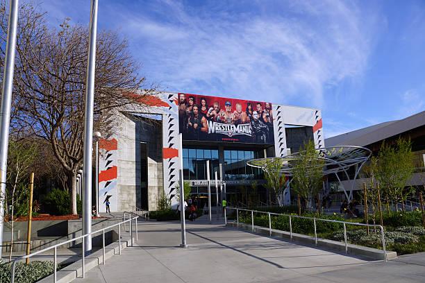Wrestlemania poster featuring wrestling superstars stock photo