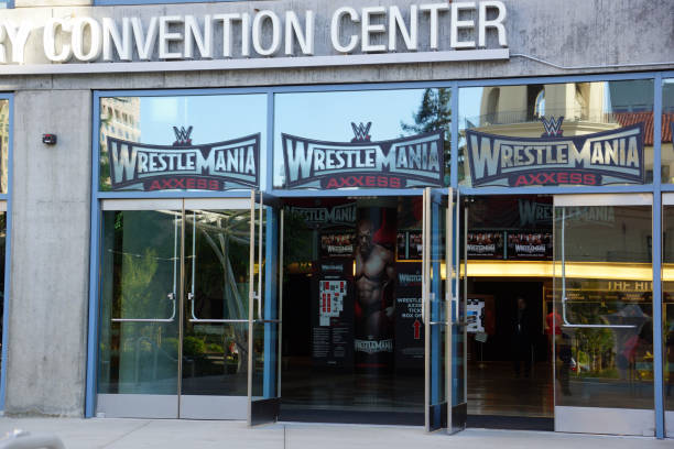 Wrestlemania WWE Axxess event entrance at the McEnery Convention Center stock photo