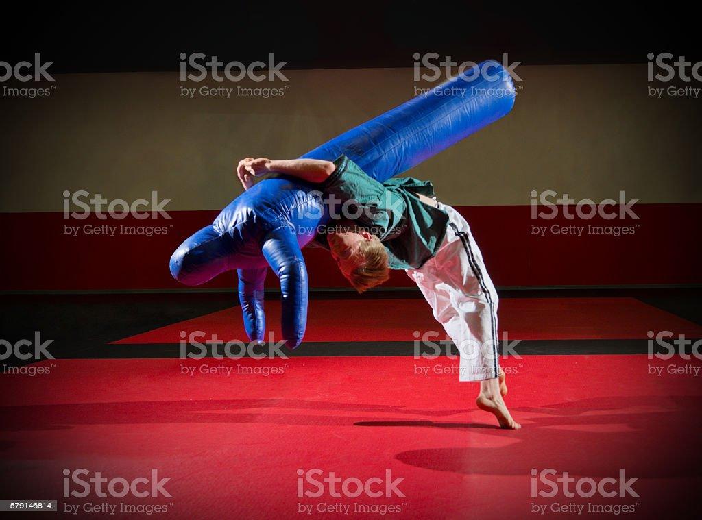 Wrestler training stock photo
